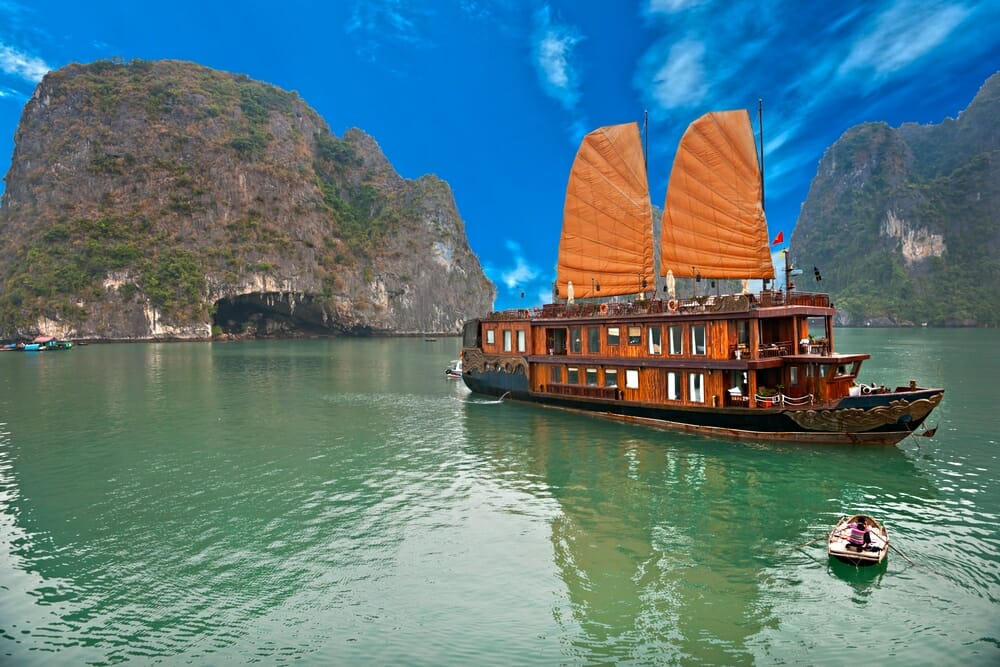Halong Bay with traditional boat