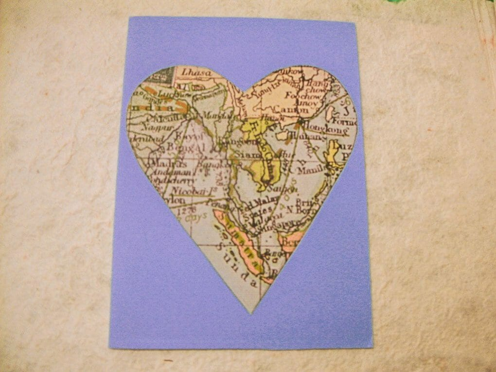 Map Heart Shaped Card I Prints in Frames I Homemade Gift Ideas_