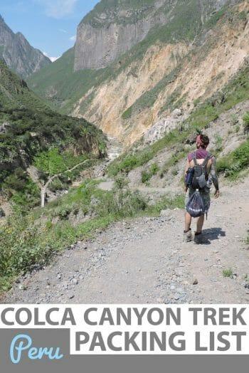 Colca canyon trek packing list Peru
