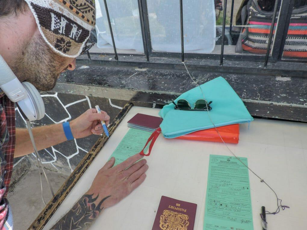 Bolivia Immigration Forms at Border Peru_