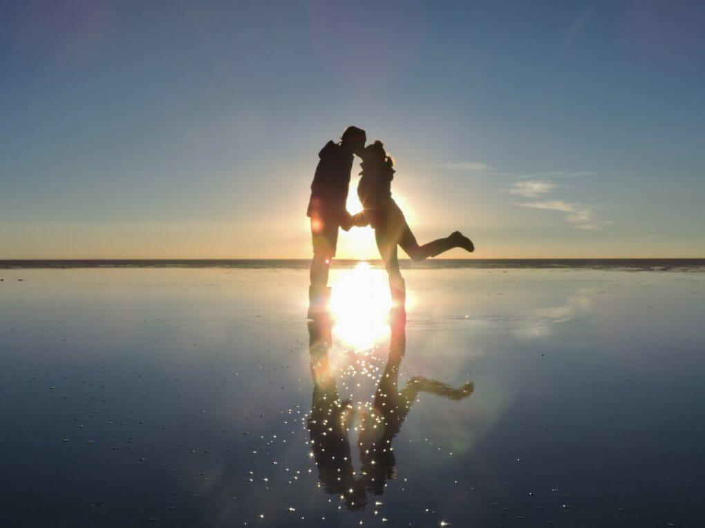 Couple Kissing Shadow Sunset Romantic Salt Flats Bolivia_