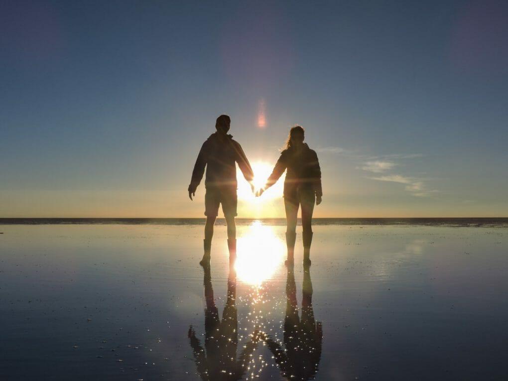Couple Shadow Sunset Romantic Salt Flats Bolivia_