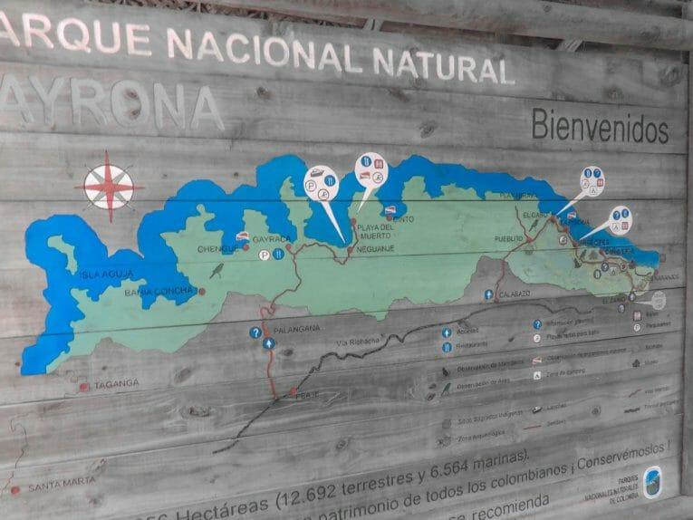 Tayrona National Park Map I Colombia