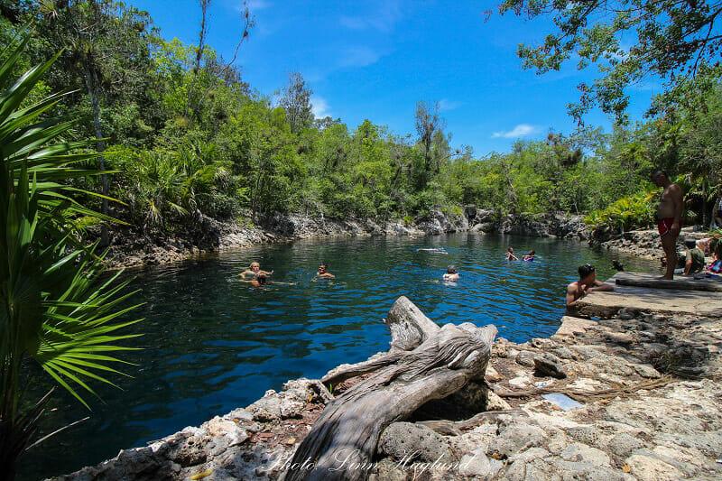 Cenote water, blue skies. Cueva de Los Peces Cuba