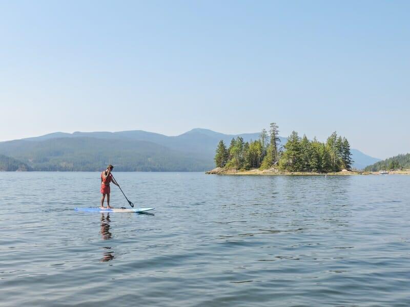 Man paddleboarding Sechelt Inlet_