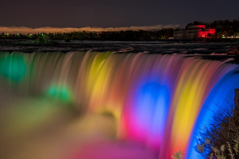 Niagara Falls at night with colour
