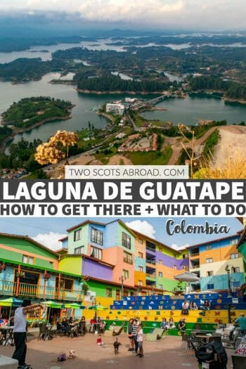 Laguna de Guatape in Colombia makes the perfect day trip from the bustling Medellin! Climb the rock to see stunning views of the Guatape rock.