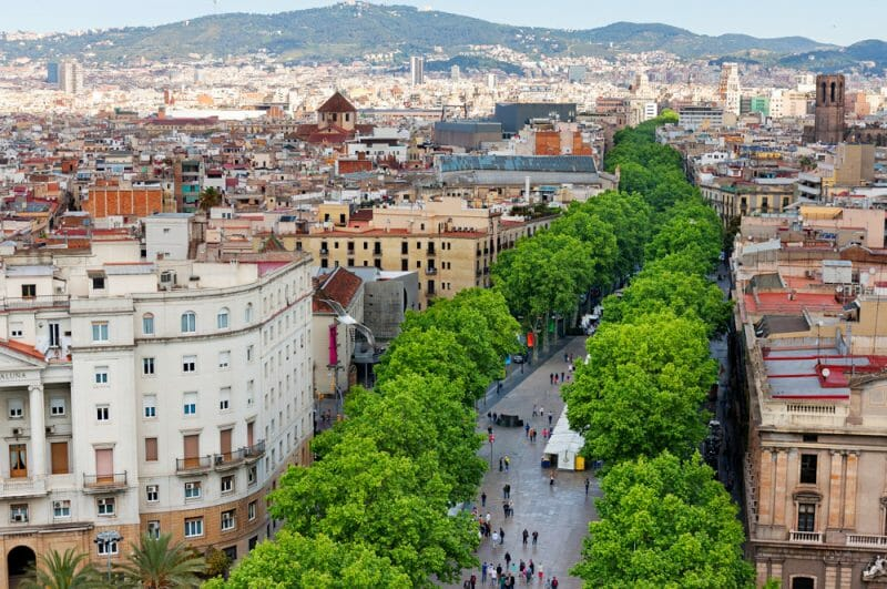 Las Ramblas of Barcelona, Aerial view3 days in Barcelona Itinerary