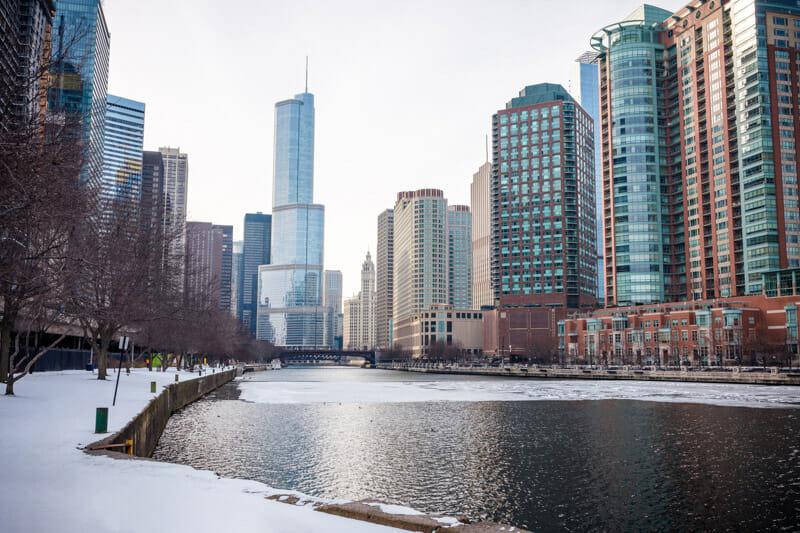 Chicago Christmas Winter December Skyline Snow