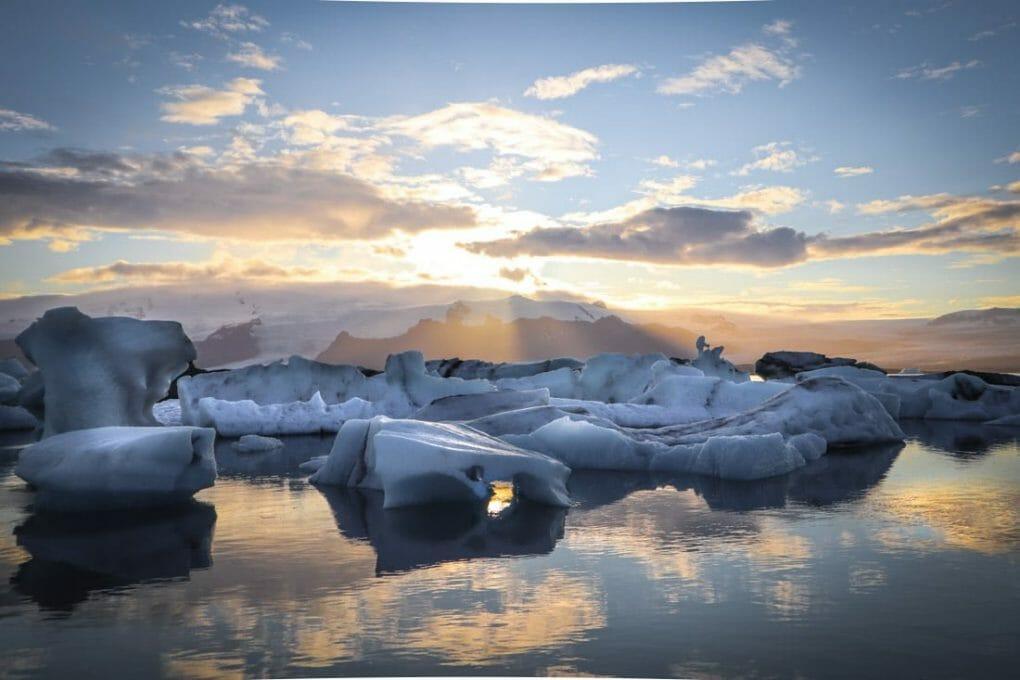 Jokulsarlon Diamond Beach Sunset Iceland
