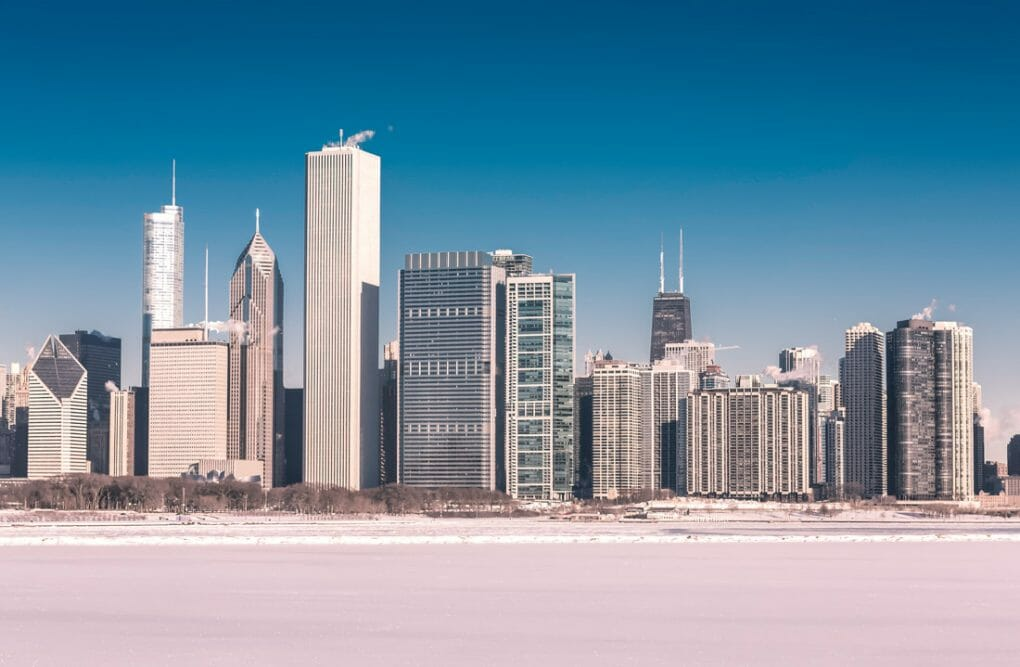 Downtown Chicago winter view with frozen lake