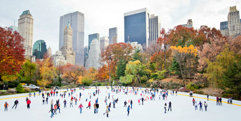 Iceskating in New York with skyline