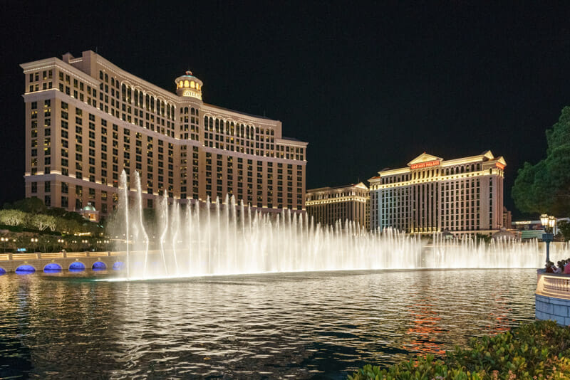 Bellagio Hotel at night with light show in Vegas