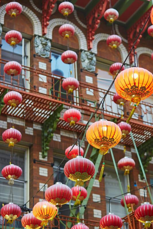 Chinatown red lanterns hanging San Francisco USA