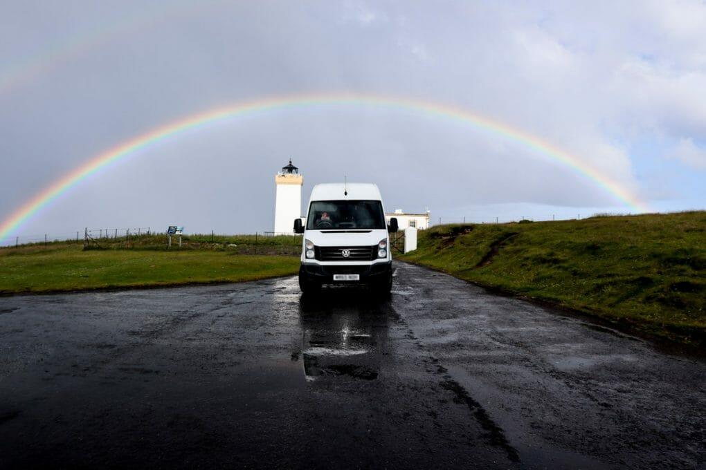 Duncansby Lighthouse Rainbow Campervan North Coast 500 Scotland_