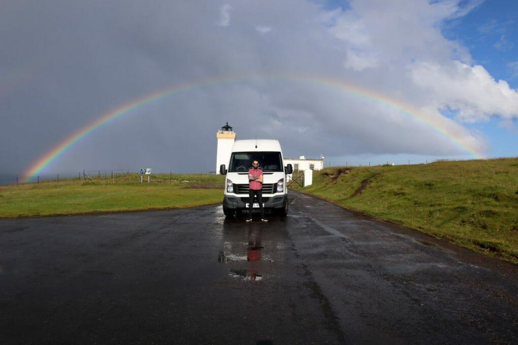 Duncansby Lighthouse Rainbow Craig Campervan North Coast 500 Scotland_