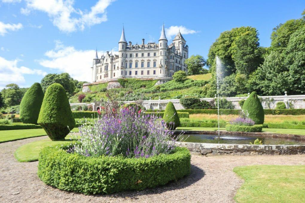 Dunrobin Castle with fountain gardens North Coast 500 Scotland_