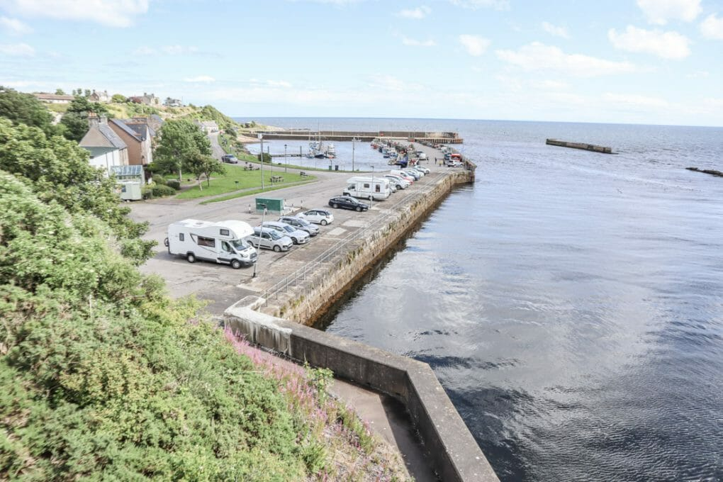Helmsdale car park camper van North Coast 500 Scotland_