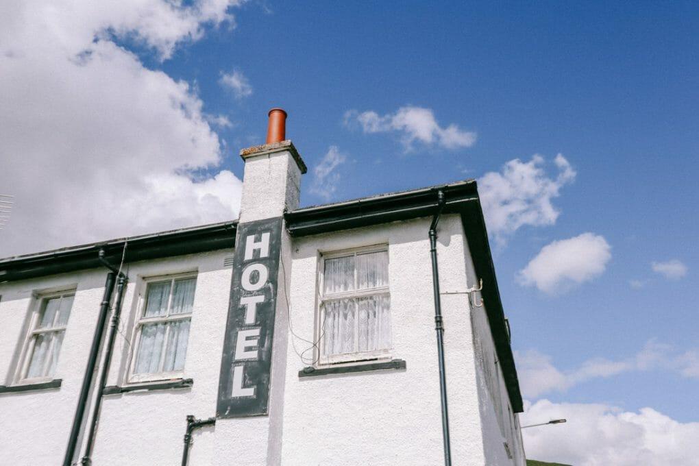 Helmsdale hotel sign North Coast 500 Scotland_