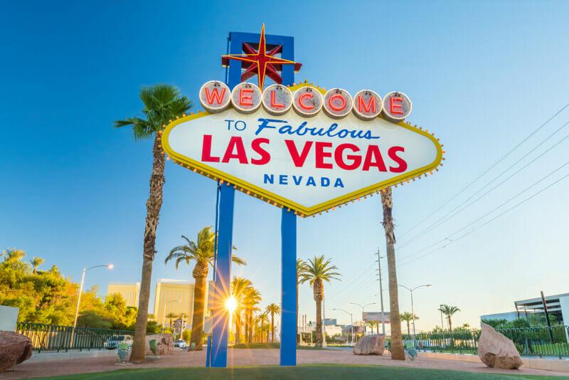 Las Vegas sign blue skies