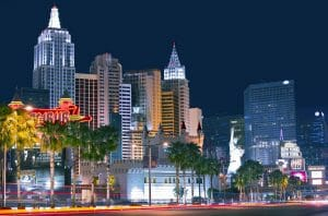 Las Vegas strip with hotels and landmarks at night