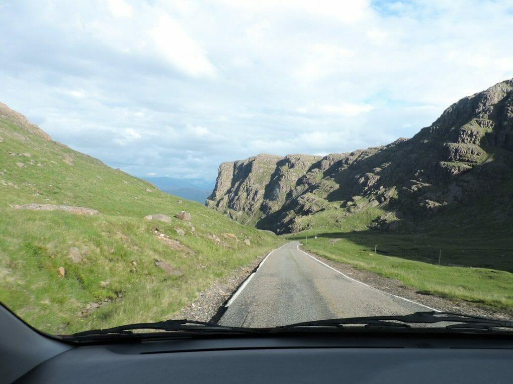 Car window Bealach na Ba Road Scotland Road trip