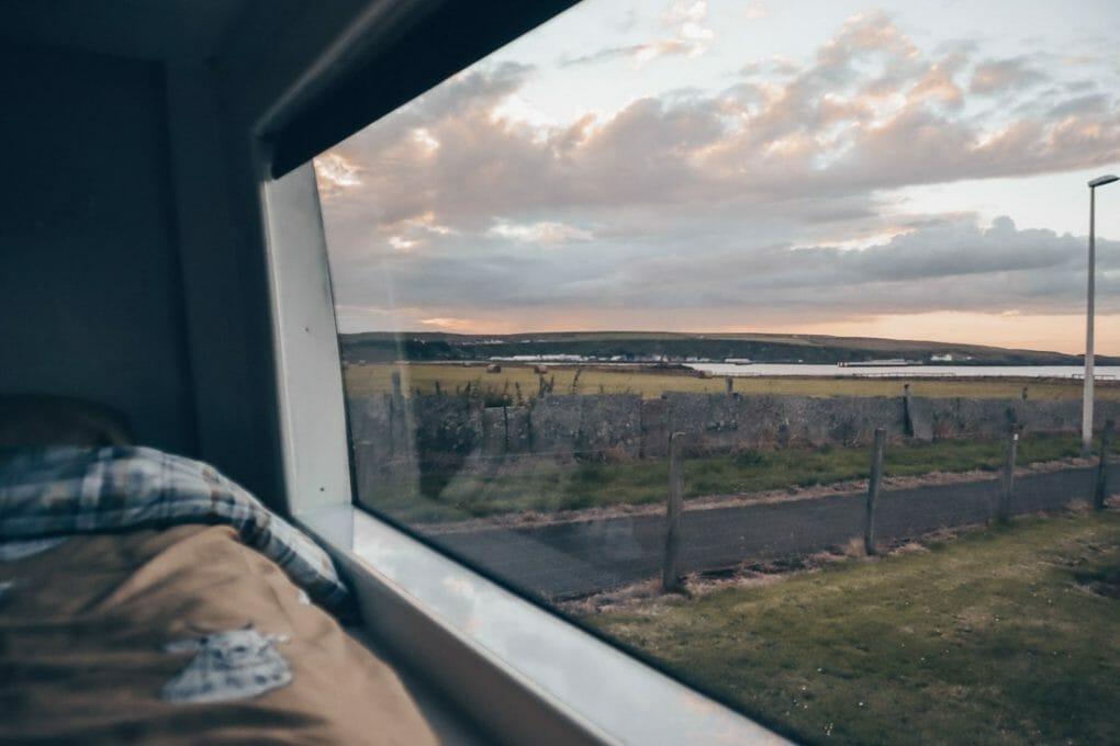 Thurso Campsite Campervan Window North Coast 500 Scotland_