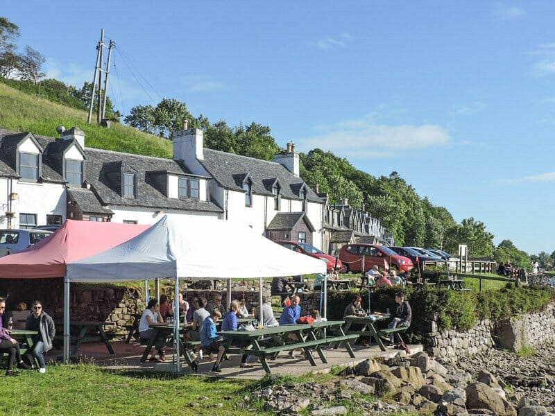 Applecross Inn Scotland, people sitting at lunch