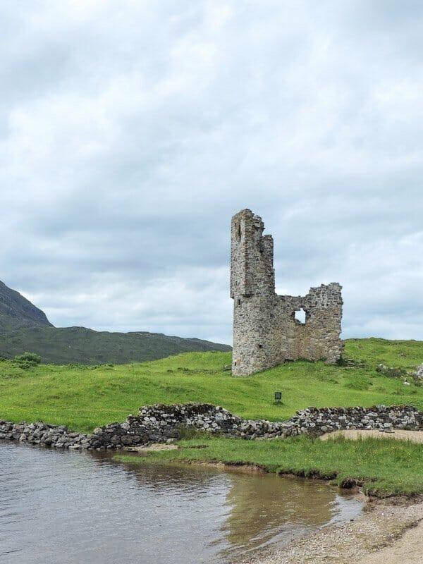 Ardvreck Castle, beach, sea, grass Scotland_