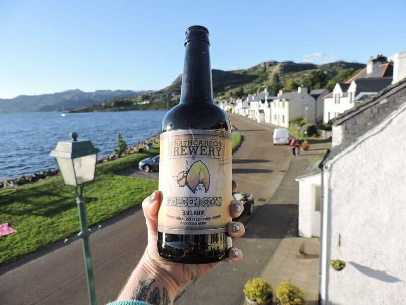 Beer bottle, shieldaig, Scotland, village, sea, cars, houses