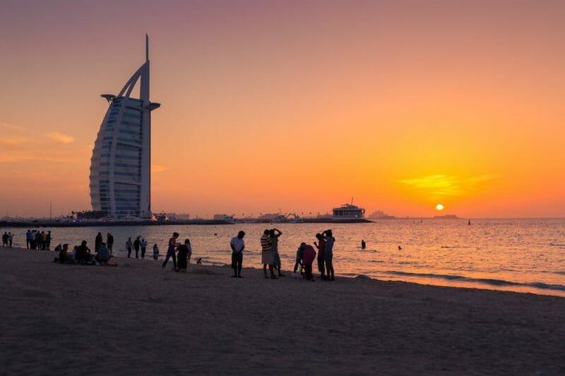Dubai Sunset Beach People