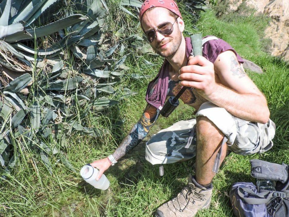 Colca Canyon, Craig, refilling filter water bottle, day bag, Salomon walking boots