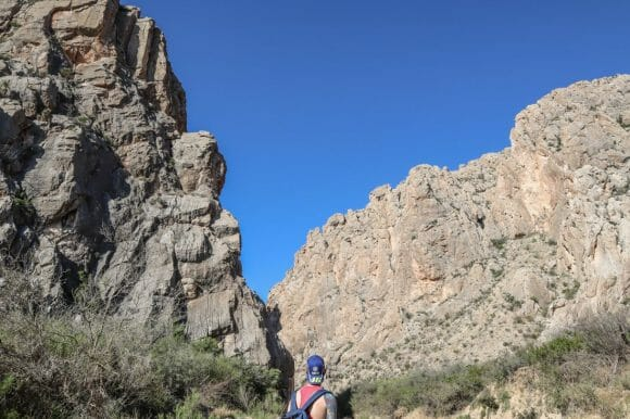 Dog Canyon hike Big Bend National Park. Craig, hat, bag.