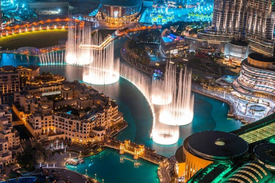 Dubai Passes, Dubai Fountain Show at night, birds eye view