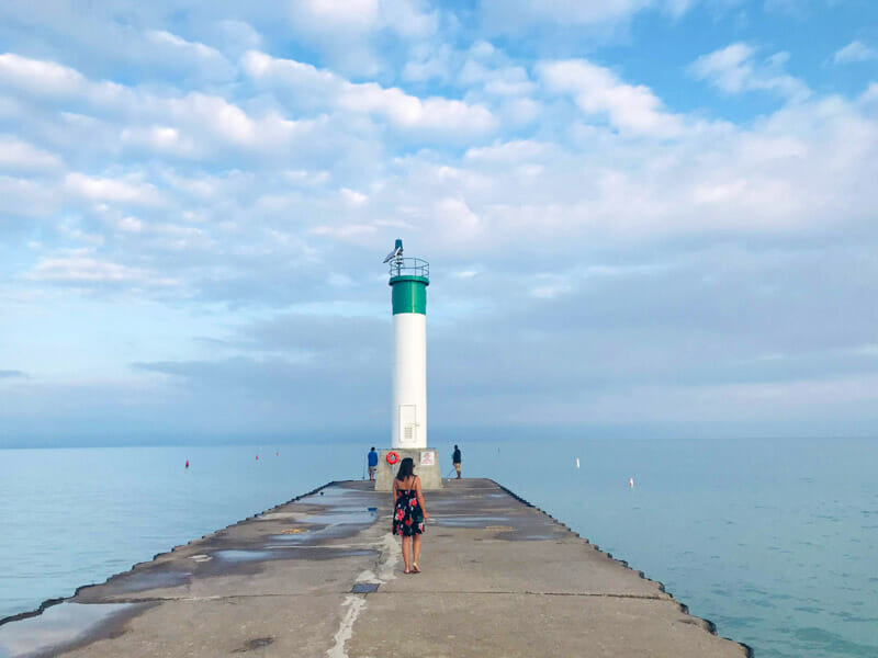 Grand Bend Canada lighthouse, water, women posing
