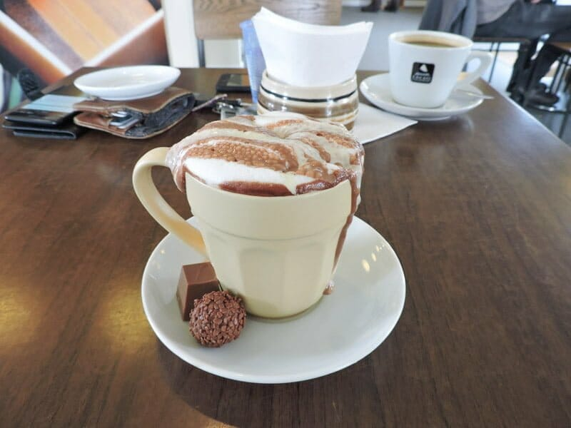 Hot Chocolate, cup, plate, table, Chocolate Mountain North Coast 500 Durness_