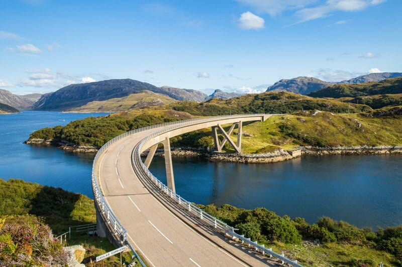 Kylesku Bridge, blue sky, hills, Scotland_