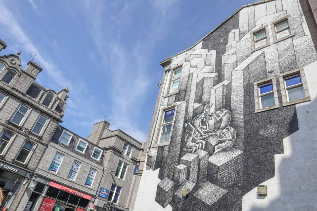 Phlegm Nuart 2017 black and white blocks