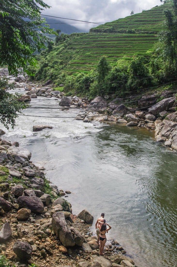 Sapa Valley in Vietnam, trekking, swimming in lake