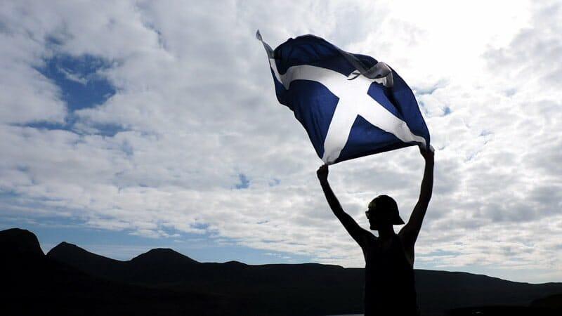 Scotland flag, skyline, shadow Craig, Stac Pollaidh, Craig, Ullapool Scotland_