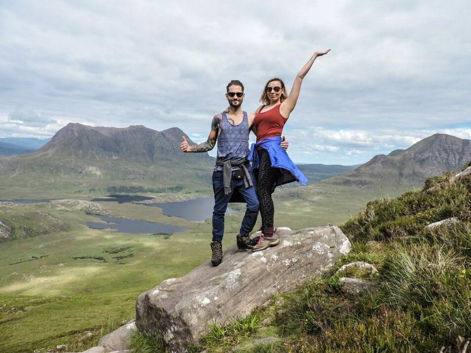 Stac Polliadh hike Ullapool Scotland Highlands, Craig, Gemma posing._