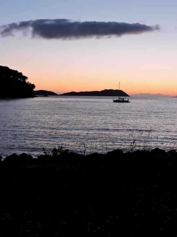 Sunset, boat, Shielding, Scotland, sea, island