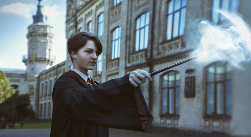 Harry Potter, cloak, wand