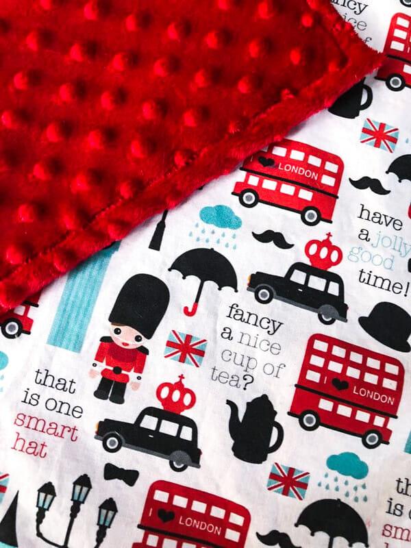 Mink or cotton London print baby blanket-toddler security blanket