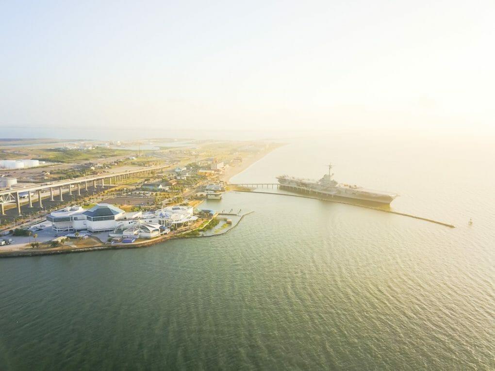 Aerial-view-North-Beach-in-Corpus-Christi-Texas-USA