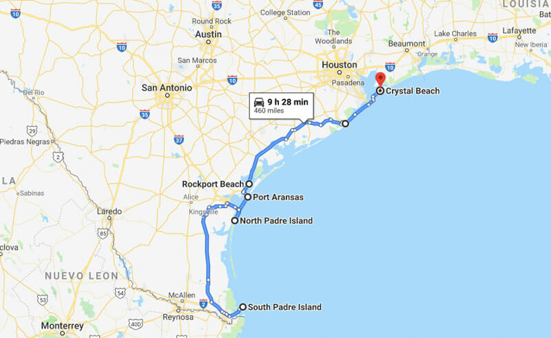 Beach towns in Texas map