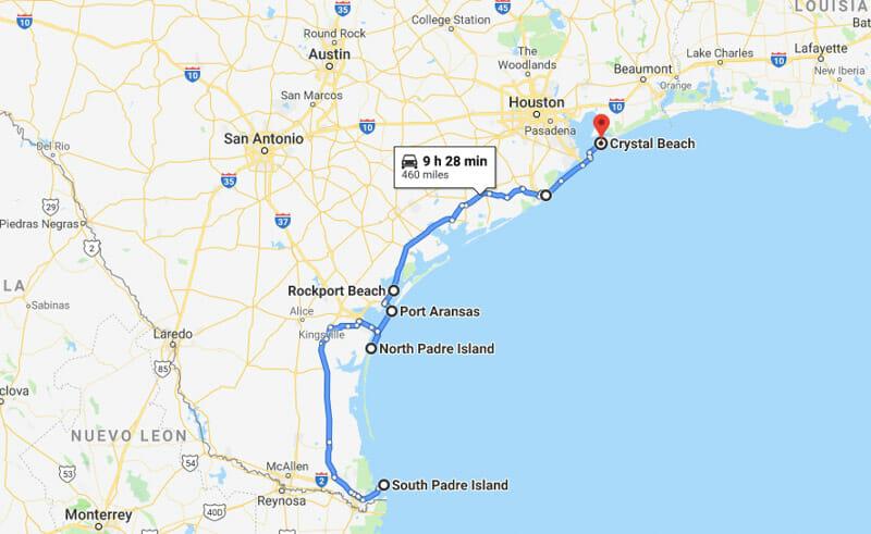 Beach towns Texas map