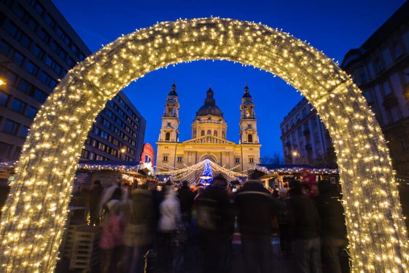 Budapest Christmas Market in front of St Stephens Bascillica