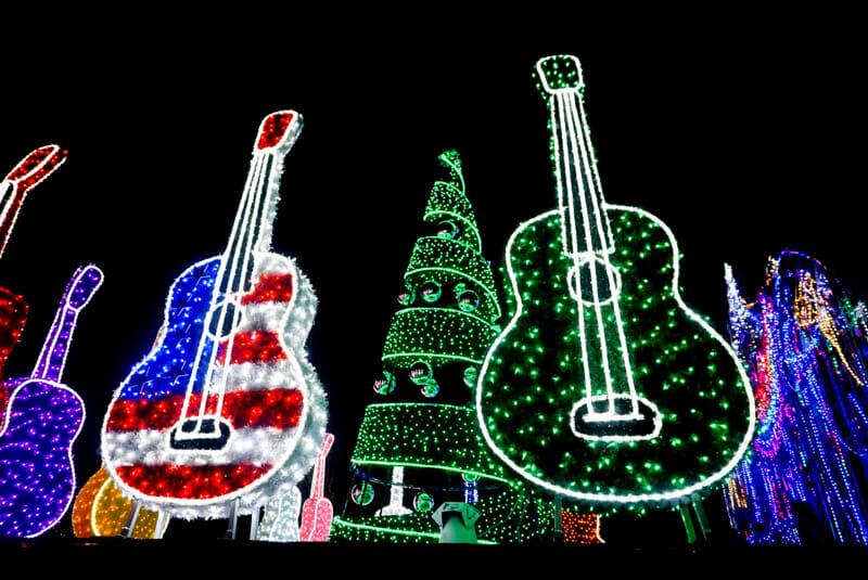 Guitars lit up in dark