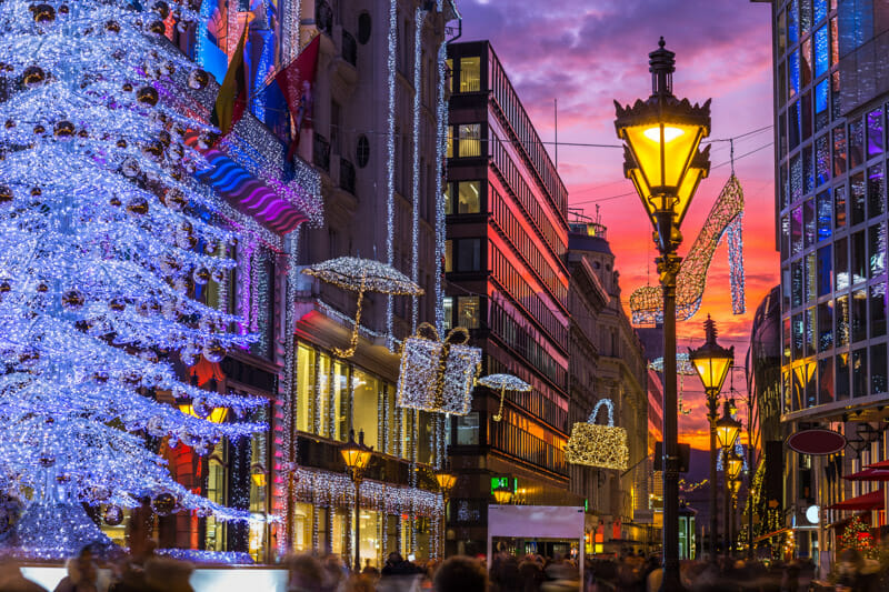 Christmas tree, decorations, Vaci Street shopping Budapest